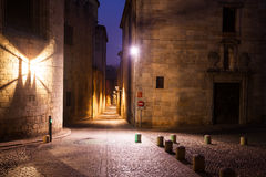 Old narrow street of european city.  Girona Royalty Free Stock Photos