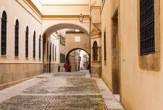 Old narrow street in european city. Plasencia Royalty Free Stock Photos