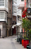 Old narrow street in historic part of A Coruna Stock Photography