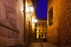 Old narrow street in night. Toledo Royalty Free Stock Images