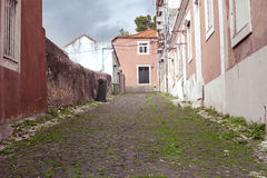The old narrow street with old house Royalty Free Stock Images