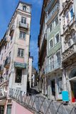 Old Narrow Street in Portuguese Town of Coimbra Royalty Free Stock Images