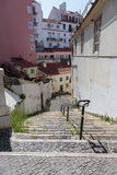 Old Narrow Street with Stairs in Portuguese Town Royalty Free Stock Photos