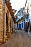 Old narrow streets in the historic village of Pano Lefkara, Cyprus. royalty free stock photo