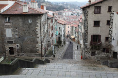 Old narrow streets in Le Puy en Velay, France Royalty Free Stock Image