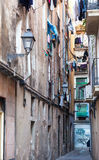 Old narrow town street of mediterranean town Stock Photography