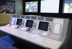Old NASA control center at exhibition Cosmos Stock Images