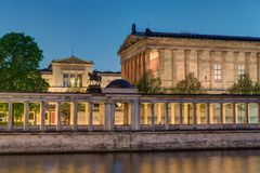 The Old National Gallery in Berlin at night Royalty Free Stock Photo