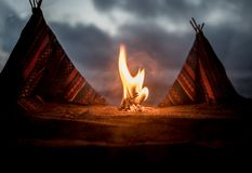 An old native american teepee in the desert royalty free stock image