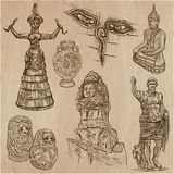 Old and native art, artworks - an hand drawn vector pack, freeha Royalty Free Stock Image