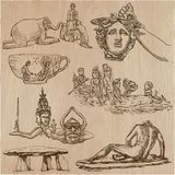 Old and native art, artworks - an hand drawn vector pack, freeha Stock Image