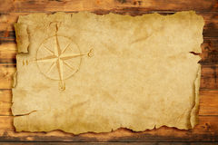 Old nautical chart. Windrose on old parchment with copy space Stock Photo