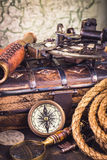 Old nautical instruments. Old vintage nautical instruments vertical royalty free stock image