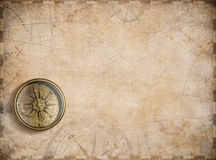 Old nautical map background with compass Stock Photo