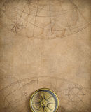 Old nautical map with compass Royalty Free Stock Photos