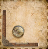 Old nautical map with compass and ruler Royalty Free Stock Photos