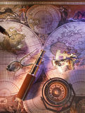 Old nautical map of the world. With compass and brass telescope Stock Photo