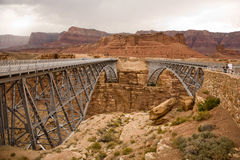 Old Navajo Bridge spanning the Colorado river at Marble Canyon Royalty Free Stock Photos