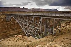 Old  Navajo Bridge spans the canyon Stock Photos