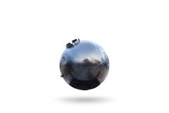 Old Naval bomb  on white background. Royalty Free Stock Photo