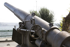 Old naval cannon in the park Stock Photo