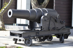 Old naval cannon in the park Royalty Free Stock Images