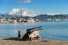 Old Naval Cannon - Port of La Spezia Italy. Ancient naval cannon 1819 in the port of La Spezia - Liguria - Italy - Europe royalty free stock photography