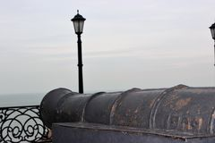 old naval cannon on the waterfront royalty free stock photography