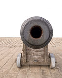 Old naval cannon. White background. Looking down the barrel of the gun Royalty Free Stock Photo