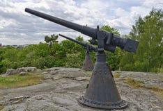 Old naval guns. On Kullbacken at Vaestervik, Sweden Stock Photos
