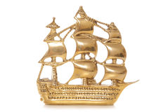 Old naval warship in brass Royalty Free Stock Image