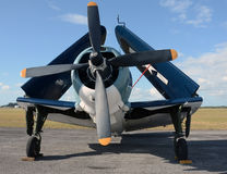 Old navy airplane. World war II era navy airplane with folded wings Royalty Free Stock Photography