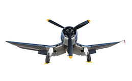 Old navy airplane isplated. World War 2 era navy fighter front view isolated Stock Image