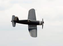 Old navy figher plane. World War II era carrier based propeller fighter Stock Image