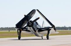 Old navy fighter. World War II era navy attack airplane Stock Photography