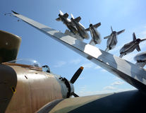 Old navy fighter plane. World War 2 era military airplane with bombs Stock Images