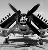 Old Navy fighter plane. World War II era navy fighter plane with folded wings Stock Photo