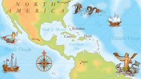 Old navy map. Carribean sea. Atlantic ocean Stock Photos