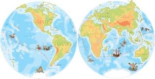 Old navy map. Ferdinand Magellan way. Around world Stock Image
