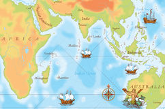 Old navy map. Indian Ocean stock illustration
