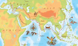 Old navy map. Marco Polo way Stock Image