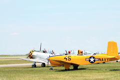 Old Navy plane lands on field Stock Photo