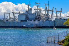 Old Navy Tanker. Decomissioned Navy oiler not moored in the ships graveyard, Pearl Harbor, Hawaii Royalty Free Stock Photo