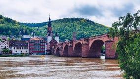 Old Neckar bridge and Heidelberg city, Germany.  Stock Images
