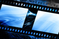 Old negative film strip. With blue shining through Royalty Free Stock Photos