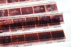 Old negative 35mm film strip on white background Stock Photo