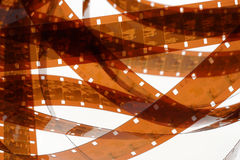Old negative 16 mm film strip on white background Royalty Free Stock Photography