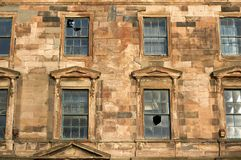 An old neglected building in the city centre awaiting demolition and redevelopment. Glasgow, Scotland - 1 December 2017: An old neglected building in the city Stock Photography