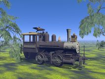 Old neglected locomotive - 3d render Royalty Free Stock Images