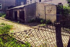 Old neglected urban area. Shabby urban buildings Royalty Free Stock Photo